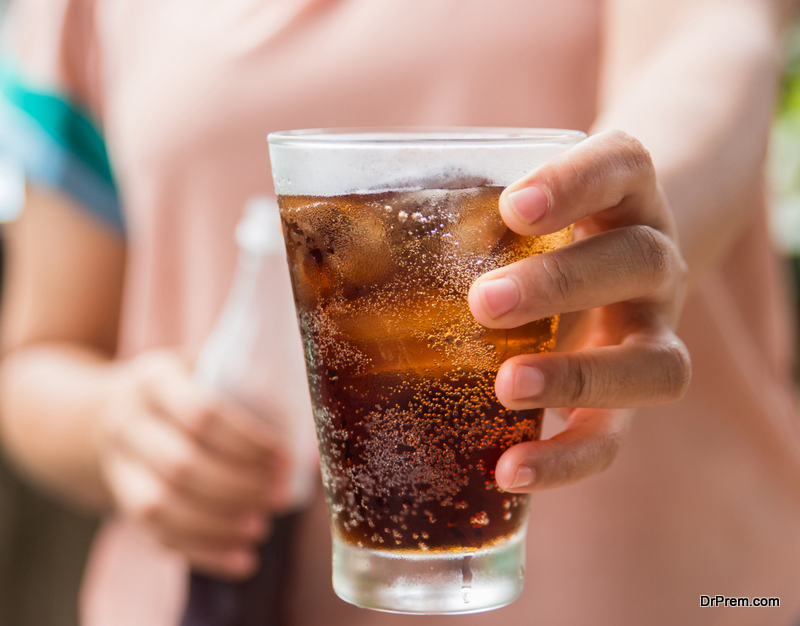 Food or drinks containing caffeine