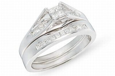 Carat Diamond Set of 14K White Gold Bridal Engagement Ring Set