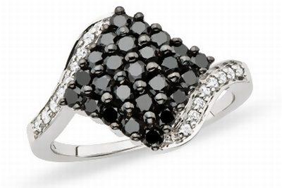 1 Carat Black & White Diamond 10K White Gold Ring