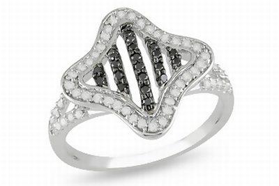 3/8 Carat Black & White Diamond 10K White Gold Ring