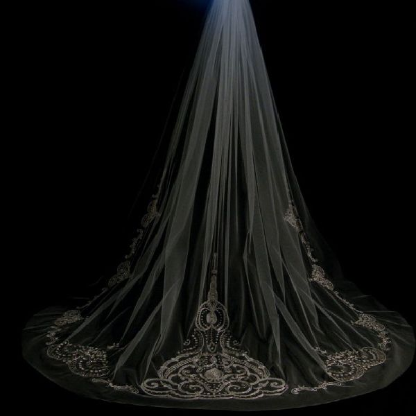 Beaded lace veil