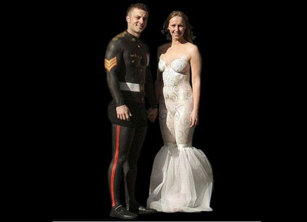 Wedding dresses body paint wedding dress for Painted on wedding dress