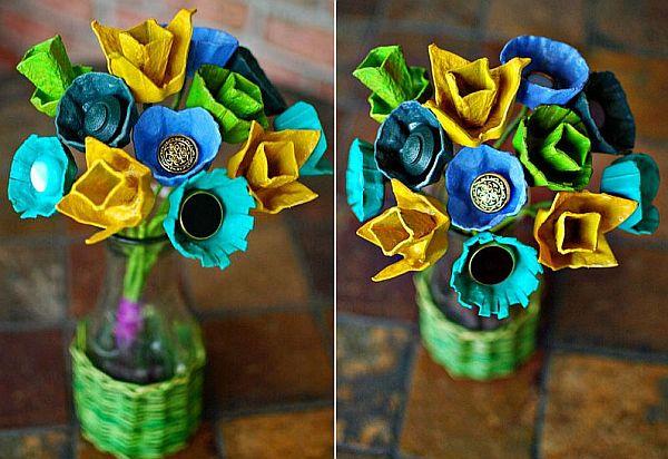 DIY Colorful egg carton centerpieces