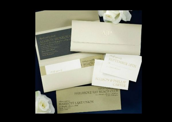 Gold Pocket with Black Invitation Card