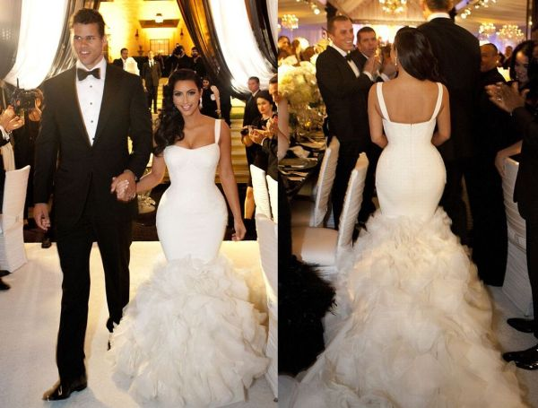 Kim Kardashian Mermaid Wedding Dress Replica 120
