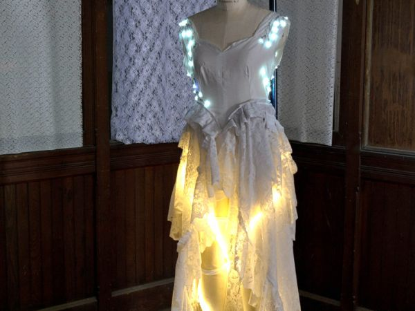 Recycled LED lit wedding gown