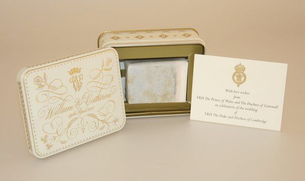 Slice of Royal couple's wedding cake