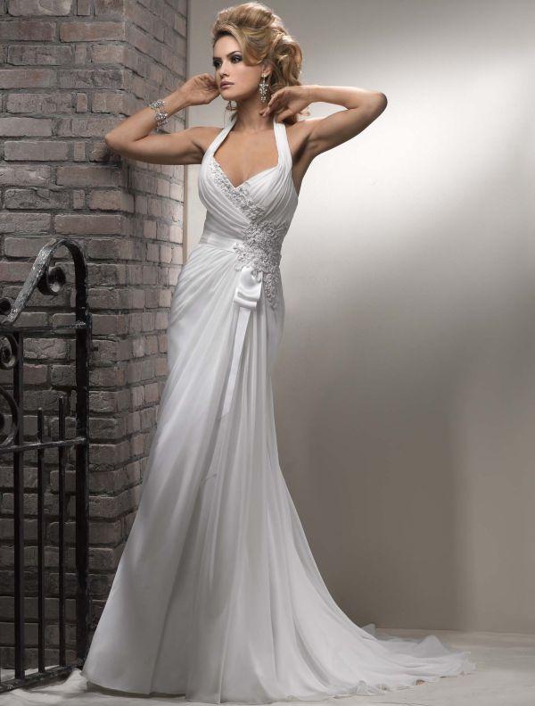 casual_column_hltar_chiffon_wedding_dress_wd-3024
