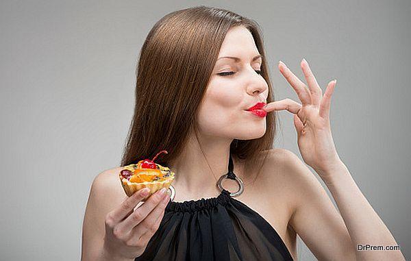 lady enjoying Dessert