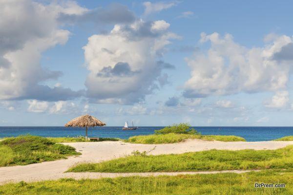 Tropical beach, sand, sea, palapas and sky