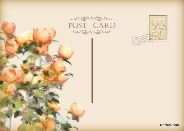 Vector Vintage Floral Postcard