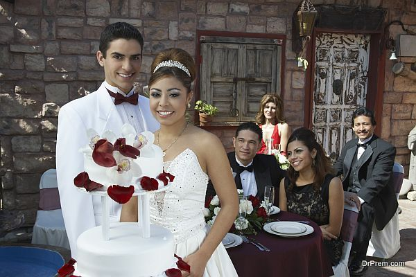 Girl and boy (13-15) at Quinceanera
