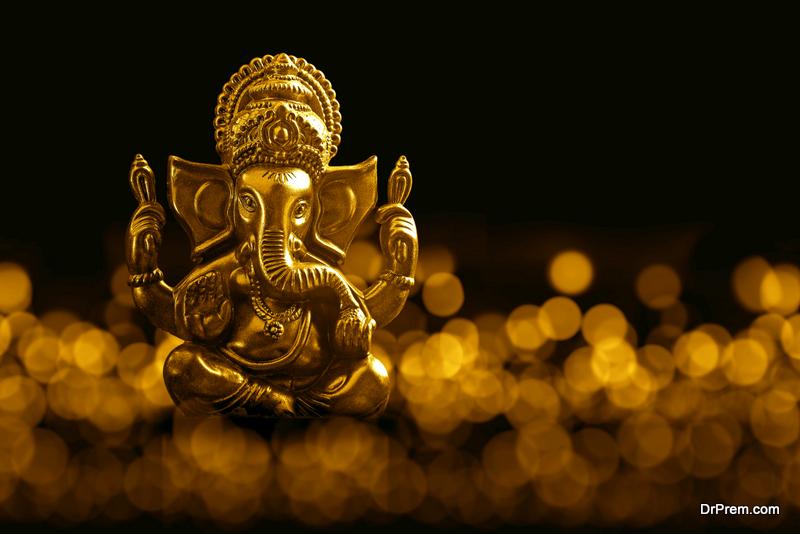 golden statue of Lord Ganesha